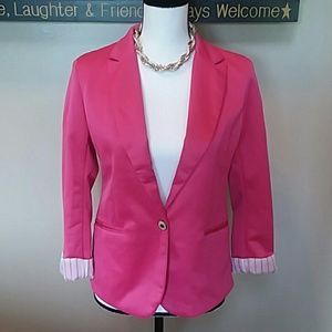 Zara woman lined blazer in magenta sm